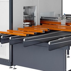 Centros de mecanizado de barras SBZ 628 S Centro de mecanizado de barras Transporte de extracción de perfiles con depósito de descarga Elumatec