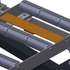 VR 3003 DF - Vertical roller conveyor with mobility and rotation mechanism End stop Elumatec