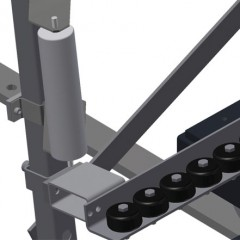 VR 4000 DF - Vertical roller conveyor with mobility and rotation mechanism Lead-in rollers Elumatec